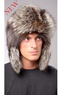 Russian style - Silver fox fur hat for men