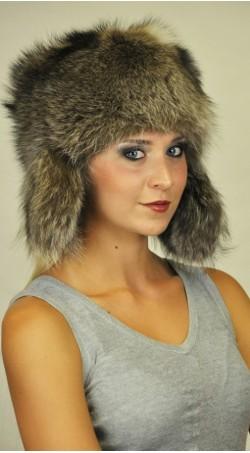 Mütze aus Waschbär Pelz mit Ohrenklappen