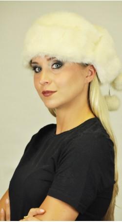 Weiss-champagne farbige Nerzpelz Mütze - mit Ohrenklappen