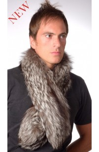Silver Fox Fur Scarf, Double Sided Fur