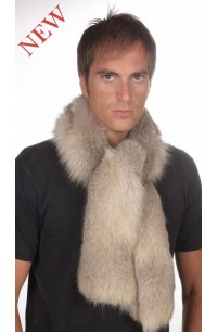 Men's grey fox fur scarf